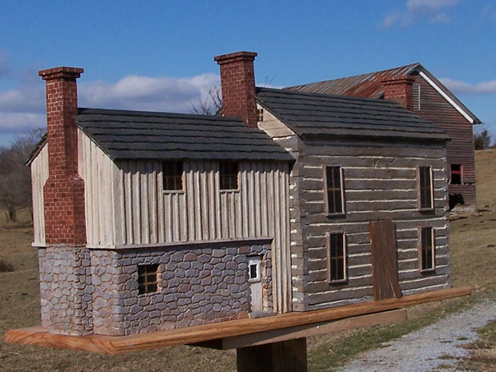 This replica of John Lewis's home, Bellefonte, was built by Ben Murch of Covenant Farm Woodworks.